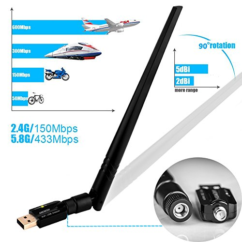 ANEWISH WiFi Adapter ac600Mbps Wireless USB Adapter 5GHz/2.4GHz Dual Band Network LAN Card with 5dBi External Antenna Compatible PC/Desktop/Laptop/Tablet, Windows 10/8.1/8/7/XP, Mac OS 10.9-10.13.6 by A-NEWISH (Image #1)