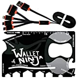 Wallet Ninja 18 in 1 Multi-purpose Credit Card Size Pocket Tool & ZONOZ USB Cable, 4 in 1 Multifunctional Universal USB Charger Cable Adapter Connector (Bundle)