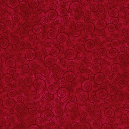 Harmony Flannel Curly Scroll Red Fabric By The Yard (Flannel Fabric For Quilting compare prices)