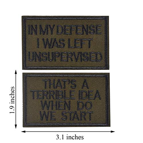 AXEN 2 Pieces in My Defense I was Left Unsupervised &That's a Terrible Idea When Do We Start, Tactical Military Morale Patch for Tactical Gear, Green