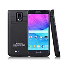 Galaxy Note 4 Battery Case, 2015 Newest 4800mAh Ultra Slim Rechargeable Extended Battery Case forSamsung Galaxy Note 4, Backup External Battery Charger Case, Portable Backup Power Bank Case with Kickstand Black