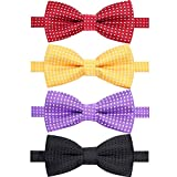 AUSKY 4 Packs Adjustable Polka Dot Pre-tied Bow Tie for Baby Boys Infant Toddler Child Kids in Different style color