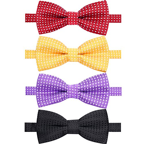 (AUSKY 4 Packs Adjustable Polka Dot Pre-tied Bow Tie for Baby Boys Infant Toddler Child Kids in Different style color (Kids E))