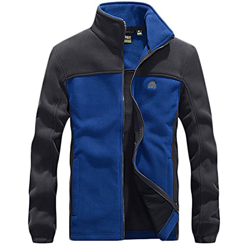 Collar Fleece One Stand front Mens Block Color Outdoor Jacket Slim MU2M Zip Coat Fit gvBHXxvqw