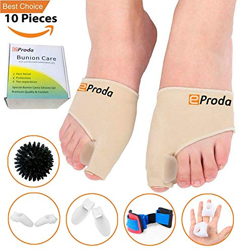 eProda Bunion Corrector - Orthopedic Foot Pain Relief Sleeves Kit with Massage Ball Bunion Splint & 3 Pairs Toe Separators Spacers for Men & Women - Stop Plantar Fasciitis Hammer Toes Hallux Valgus by eProda