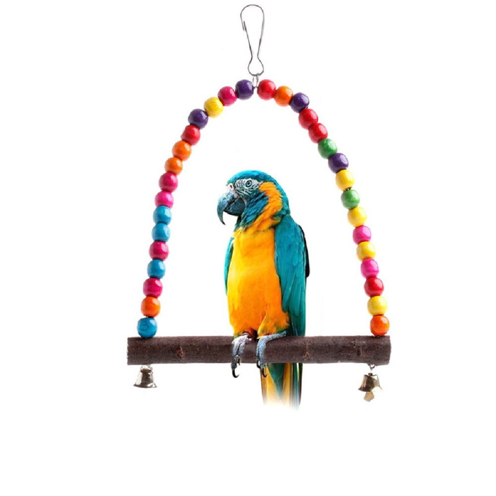 Itemap Colorful Wooden Swing with Bell Bird Harness Hammock Hanging Toys Parrot Parakeet Cockatiel Finch Lovebird Budgie Macaw.