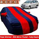 Autofact Car Body Cover for Toyota Innova (2000 to 2016) (Mirror Pocket, Premium Fabric, Triple Stiched, Fully Elastic, Red/Blue Color)