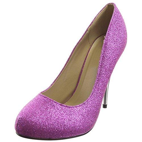 Sopily - Scarpe da Moda scarpe decollete Stiletto alla caviglia donna lucide Tacco Stiletto tacco alto 11 CM - Viola