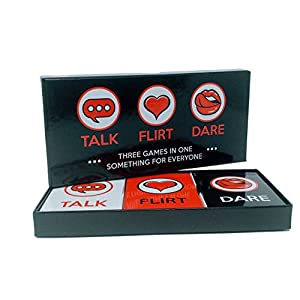 Fun and Romantic Game for Couples: Date Night Box Set with Conversation Starters, Flirty Games and Cool Dares - Choose from Talk, Flirt or Dare Cards for 3 Games in 1 - Includes 150 Gaming Cards