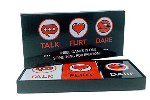 Fun and Romantic Game for Couples: Date Night Box Set with Conversation Starters, Flirty Games and Cool Dares - Choose from Talk, Flirt or Dare Cards for 3 Games in 1 - Great Gift For Him or Her! (No Retreat Board Game)