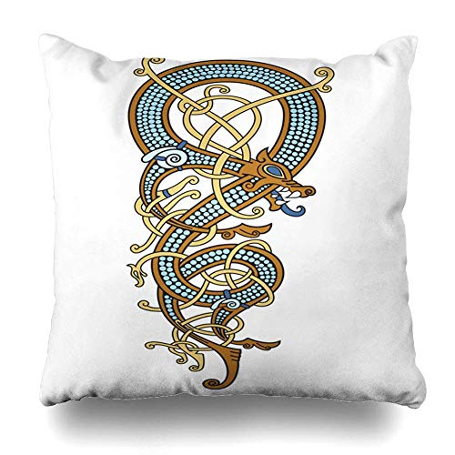 Throw Pillow Cover History Antique Celtic Scandinavian Vintage Pattern Form Twisted Europe Ancient Asgard Barbarian Home Decor Pillow Case Square Size 18 x 18 Inches Zippered Pillowcase ()