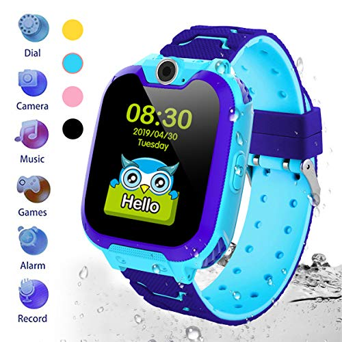 HuaWise Kids Smartwatch[SD Card Included], Waterproof Smartwatch for Kids with Quick Dial, SOS Call, Camera and Music Player, Birthday Gift Game Watch for Boys and Girls(Not Support AT&T) (Blue)