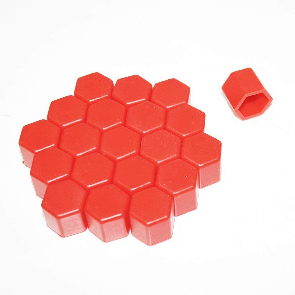 tuercas color rojo tornillos y cubiertas de /óxido 20 tapones de silicona para rueda de coche tuercas tuercas pernos 17 mm