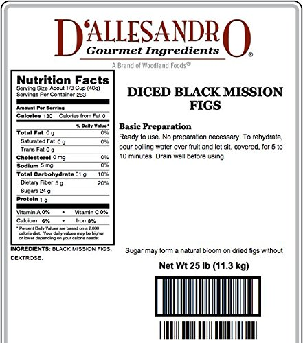 Diced Black Mission Figs, 25 Lb Bag by Woodland Ingredients (Image #1)