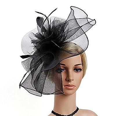 Mwfus Women Girls Mesh Feather Fascinator Wedding Cocktail Tea Party Headband Hairband