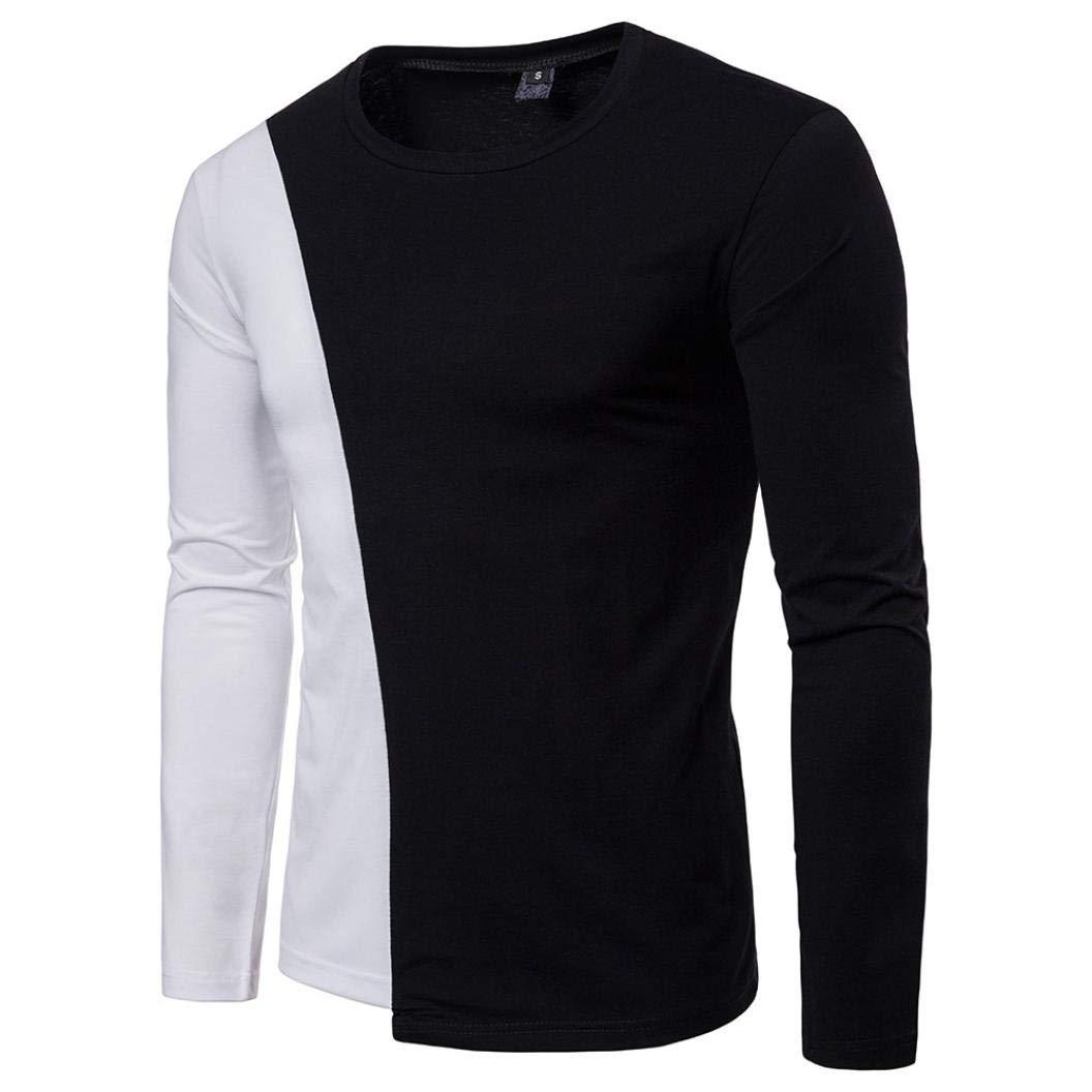 ZIYOU Herren O-Ausschnitt Pullover, Casual Basic Langarm T Shirt Patchwork Rundhals Tops Hemd Schwarz-Weiss(,)