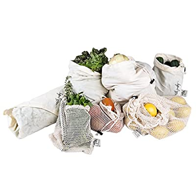 "EARTH JUNKY Eco Reusable Bag 7 Piece Set- 6 Organic Cotton Drawstring Muslin and Mesh Produce Bags w/ 1 Original 30"" x 30"" Leafy Greens Swaddle Sheet - for Shopping/Storage/Grocery - Eco-Friendly"