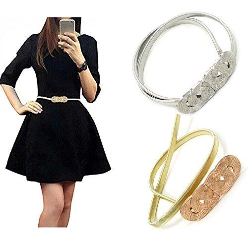 (VITORIA'S GIFT Vintage Womens Waist Belt Elastic Belt Stretch Waist Strap Cummerbund Leaf Design Clasp Stretch Waist Belt)