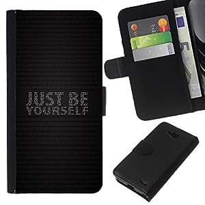 LECELL--Cuero de la tarjeta la carpeta del tirón Smartphone Slots Protección Holder For LG OPTIMUS L90 -- SOLO SÉ TÚ MISMO --