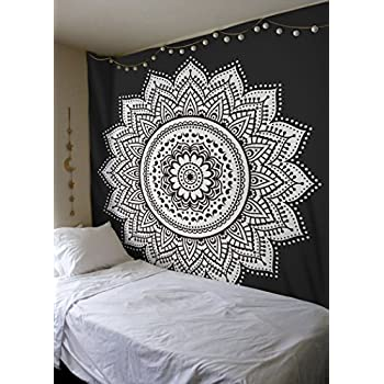 Madhu international twin black white mandala for Decoration murale hipster