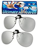 LG CINEMA Clip-On (Pack of 2) Compatible Passive 3D Glasses by Ultimate 3D Heaven