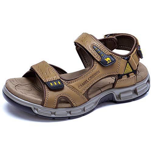CAMEL CROWN Men's Leather Sandals Summer Athletic Sandals Air Cushion Casual Strap Water Sandals for Outdoor Hiking Walking Beach Khaki