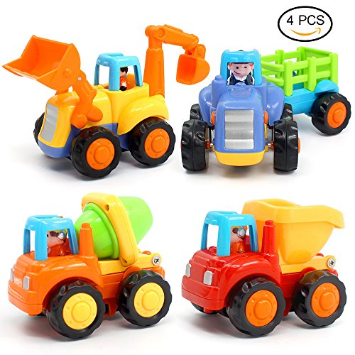 ORWINE Inertia Toy Early Educational Toddler Baby Toy Friction Powered Cars Push and Go Cars Tractor Bulldozer Dumper Cement Mixer Engineering Vehicles Toys For Children Boys Girls Kids Gift 4PCS by ORWINE
