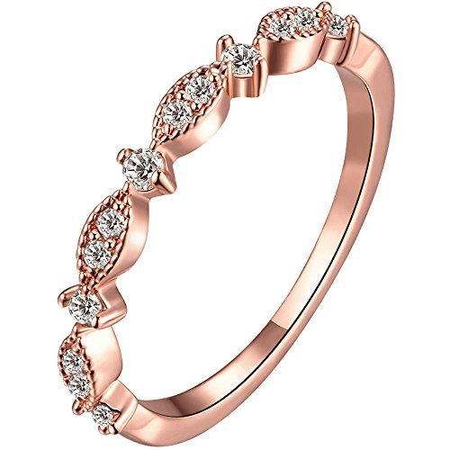 LWLH Jewelry Womens 3mm 18k Rose Gold Plated Cubic Zirconia CZ Love Eternity Promise Ring Wedding Band Szie 6