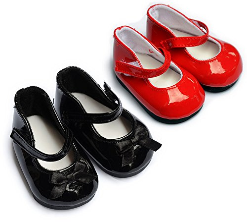 Sweet Dolly Doll Shoes 2 Pairs Black and Red Mary Janes Fit