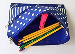 Pencil Pouches with Two Zippered Pockets Multi-use Bag Fits 3-Ring Binder Assorted Color Nylon Pencil Case Moisture Resistant Inner Liners (3-Pack)