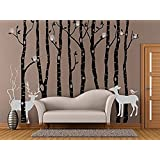 Birch Tree Wall Decals for Nursery Tree Wall Decal with Owls and Deer Christmas Wall Decorations