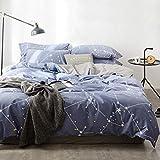 OREISE Duvet Cover Set Full/Queen Size 100% Cotton Bedding Set Blue Printed Star Pattern,3Piece (1 Duvet Cover + 2 Pillowcase),Comfortable Luxurious Hypoallergenic