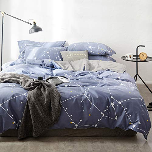 OREISE Duvet Cover Set Full/Queen Size 100% Cotton Bedding Set Blue Printed Star Pattern,3Piece (1 Duvet Cover + 2 Pillowcase),Comfortable Luxurious Hypoallergenic