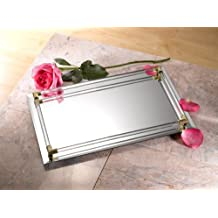 "Fine 9""x14"" Mirror Tray Vanity Tray Serving Tray with Cristal Border"