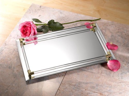 "Mirrored Serving Tray Size  Large,12"" x 16"", Gold"