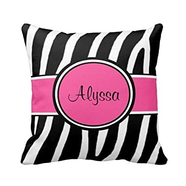 Pink Zebra Print Personalized Pillow Cover 18x18 Inches Square Cotton Polyester Throw Pillow Case Decor Cushion Covers
