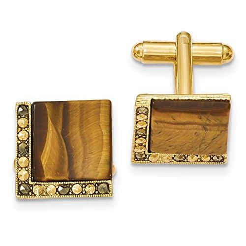 1928 Jewelry Gold-tone Tiger Eye & Marcasite Cuff Links