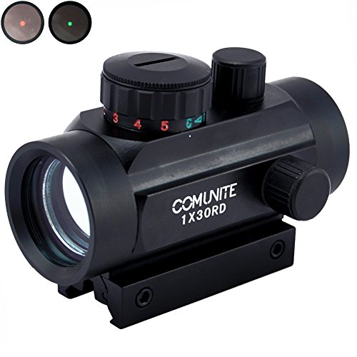 Comunite Rifle Scope 1x30mm Red Dot Sight with 20mm/11mm Weaver Picatinny Mount Rails, Five Brightness Settings Reflex Sight for Hunting Spotting Aiming Positioning