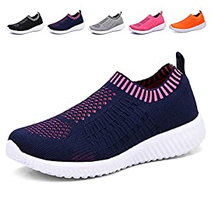 KONHILL Women's Lightweight Casual Walking Athletic Shoes Breathable Mesh Running Slip-On Sneakers, Navy, 40