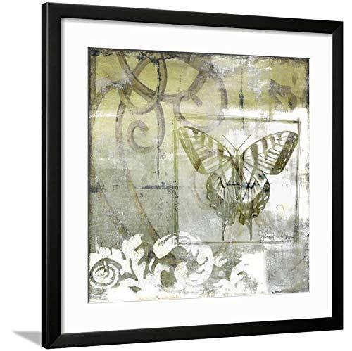 ArtEdge Non-Embld. Butterfly & Ironwork III by Jennifer Goldberger, Wall Art Framed Print, 24x24, Black Soft White Mat