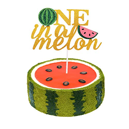 One in a Melon Cake Topper First birthday cake decorations 1st Birthday Party Decor Watermelon Themed Kids Party Supplies
