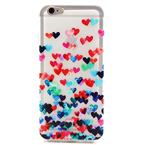 Price comparison product image Gotd Colorful Heart Pattern Rubber Soft TPU Case Cover for iphone 6G 4.7Inch ( 1)