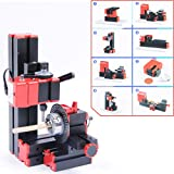 Rhegene Industrial New 12V DC 2A 24W 8-in-1 Woodworking Mini Classic Lathe Handle Tool Indexing Milling Machine Sanding Sawing Wood-Turning Driller Drilling Grinder