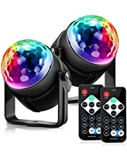 Disco Ball Disco Lights - DILISS Party Lights Sound Activated Storbe Light With Remote Control DJ Lighting,Led 7 Colors Light Bal, Dance lightshow for Home Room Parties Kids Birthday Wedding Show Club Pub (2 Pack)