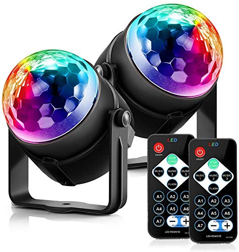 Disco Ball Disco Lights - DILISS Party Lights Sound Activated Storbe Light With Remote Control DJ Lighting,Led 7 Colors Light Bal, Dance lightshow for Home Room Parties Kids Birthday Wedding Show Club Pub - 2 Pack
