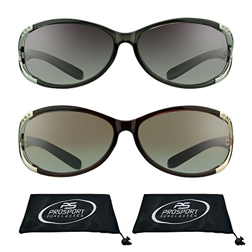 Sun Readers Reading Sunglasses (Reading Sun Glasses Tinted with Rhinestones for Women (Black Silver + Brown Gold, 2.00))