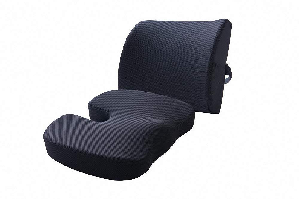 Cushion memory cotton lumbar cushion set office lumbar pillow car cushion car seat office cushion (color : BLACK)