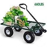 Mesh Desk Utility Garden Wagon Nursery Cart Wheelbarrow Steel Trailer Lawn Yard