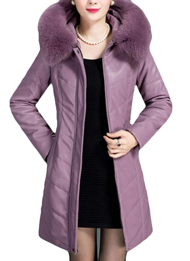 2 Alion Womens Casual Thick Hooded Down Jacket Coat Winter Warm Faux Fur Slim Fit Long Overcoat