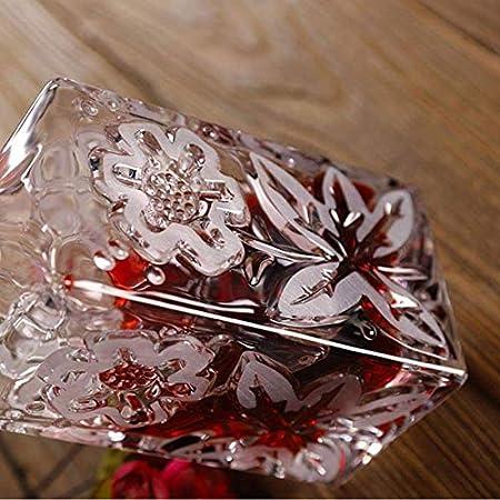 TQJ Botella de Whisky con Vaso Copa de Cristal Tallada de Vidrio y Vino Home Bar Party Hotel Webware Set Vidrio Copa, 1 Botella y 6 Tazas Botella de Whisky Regalo